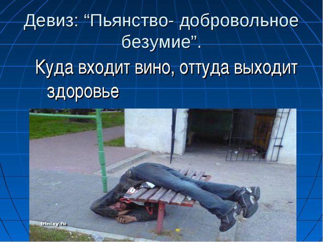 """Девиз: """"Пьянство- добровольное безумие"""". Куда входит вино, оттуда выходит здо..."""