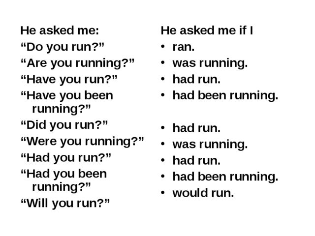 """He asked me: """"Do you run?"""" """"Are you running?"""" """"Have you run?"""" """"Have you been..."""