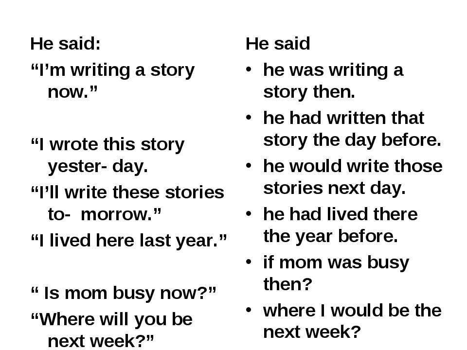 """He said: """"I'm writing a story now."""" """"I wrote this story yester- day. """"I'll wr..."""