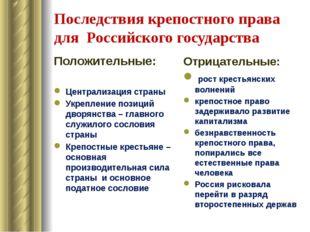 Последствия крепостного права для Российского государства Положительные: Цент