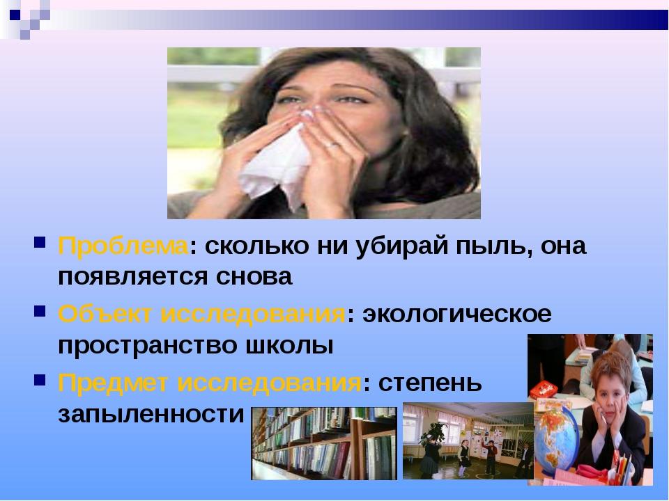 Проблема: сколько ни убирай пыль, она появляется снова Объект исследования:...