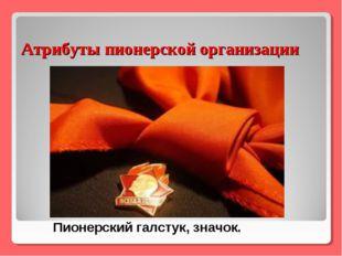 Атрибуты пионерской организации Пионерский галстук, значок.