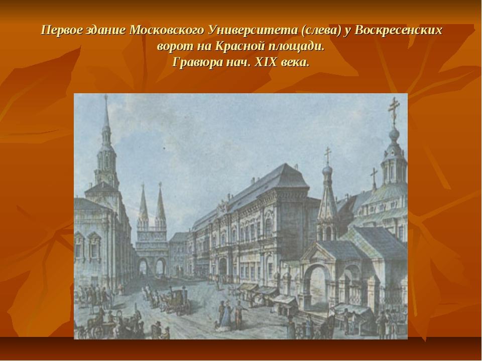 Первое здание Московского Университета (слева) у Воскресенских ворот на Красн...