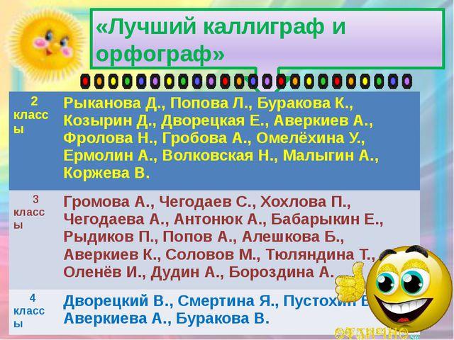 «Лучший каллиграф и орфограф» 2 классы РыкановаД., Попова Л.,БураковаК.,Козыр...