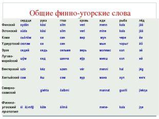 Общие финно-угорские слова сердцерукаглазкровьидирыбалёд Финскийsydä