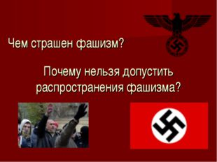 Чем страшен фашизм? Почему нельзя допустить распространения фашизма?