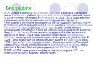 Биография А.А.Сурков родился 1(13) октября 1899 года в деревне Середнево (