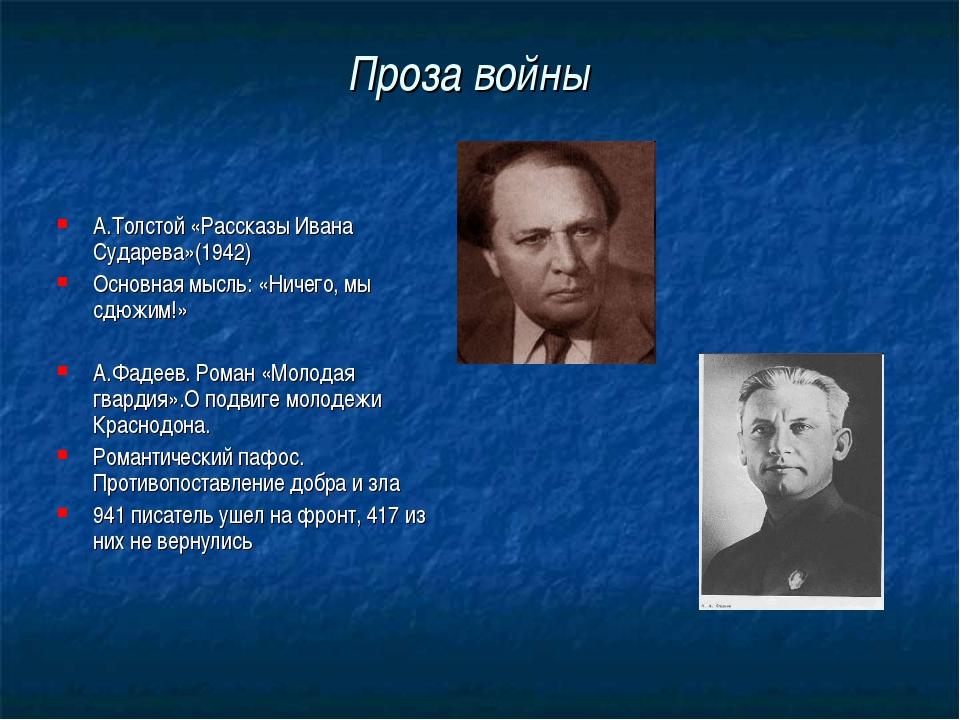 Проза войны А.Толстой «Рассказы Ивана Сударева»(1942) Основная мысль: «Ничего...