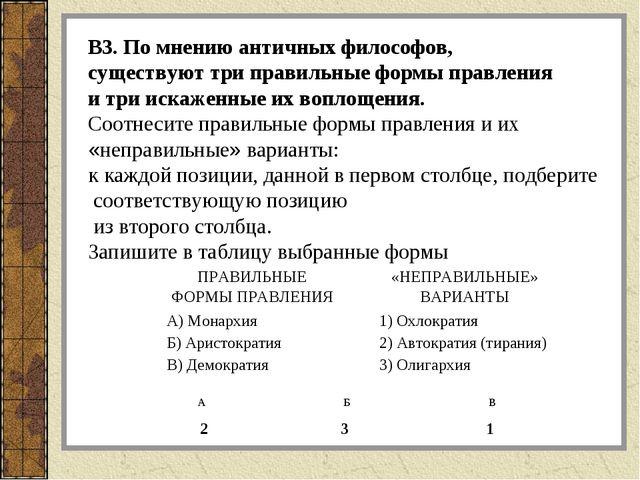 В3. По мнению античных философов, существуют три правильные формы правления и...