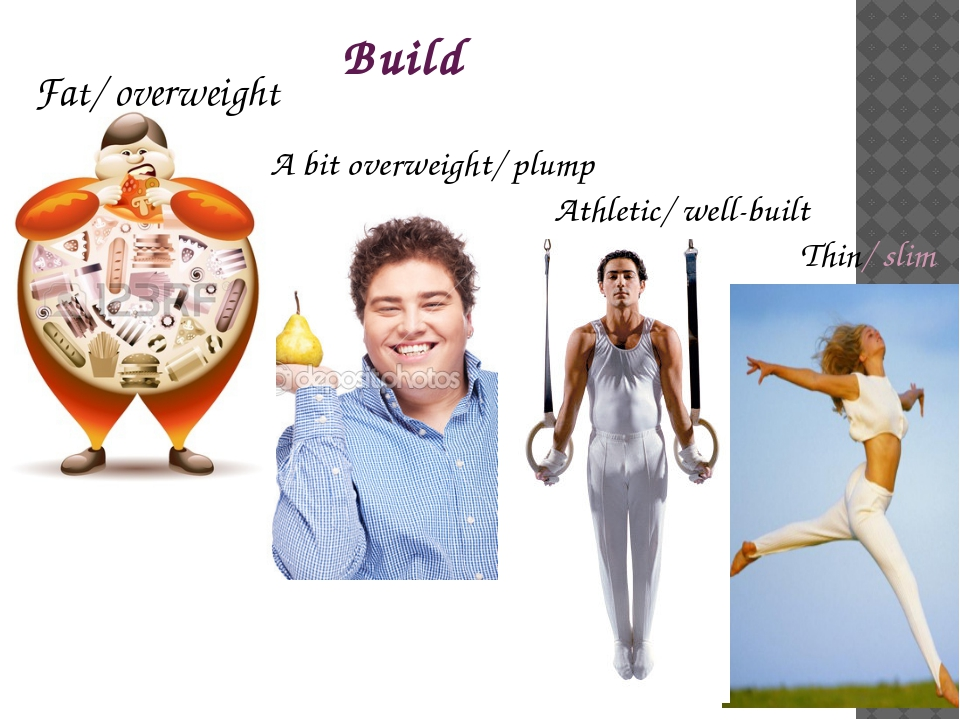 Build Thin/ slim Athletic/ well-built A bit overweight/ plump Fat/ overweight