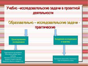 Учебно –исследовательские задачи в проектной деятельности Образовательно – ис