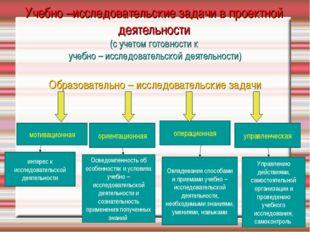 Учебно –исследовательские задачи в проектной деятельности (с учетом готовност