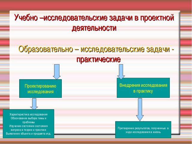 Учебно –исследовательские задачи в проектной деятельности Образовательно – ис...