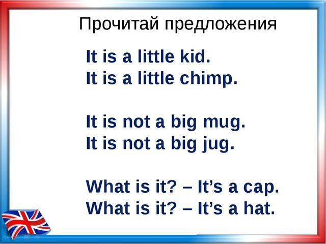 Прочитай предложения It is a little kid. It is a little chimp. It is not a bi...