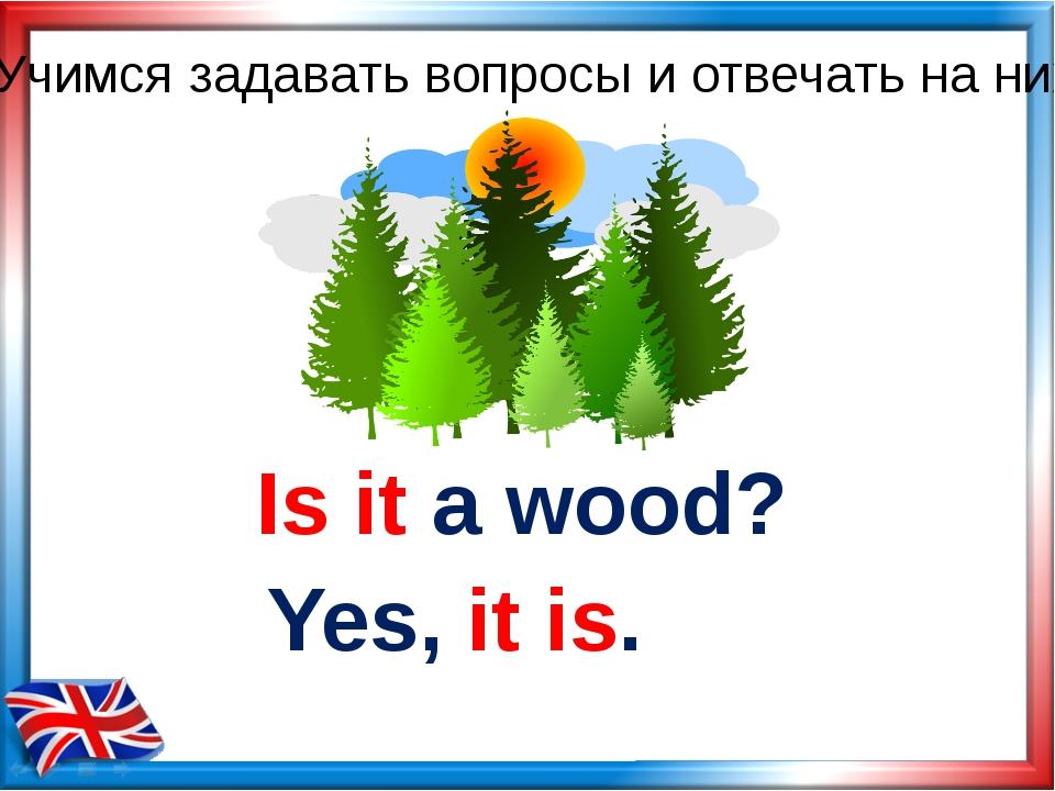 Is it a wood? Yes, it is. Учимся задавать вопросы и отвечать на них