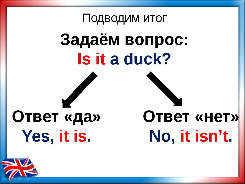Ответ «да» Yes, it is. Ответ «нет» No, it isn't. Подводим итог Задаём вопрос:...