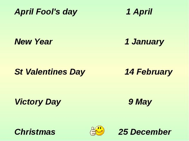 April Fool's day 1 April New Year 1 January St Valentines Day 14 February Vic...