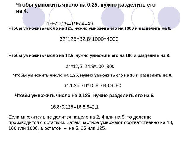 Чтобы умножить число на 0,25, нужно разделить его на 4. 196*0,25=196:4=49 Что...