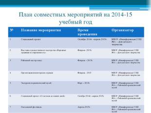 План совместных мероприятий на 2014-15 учебный год № Название мероприятия Вре