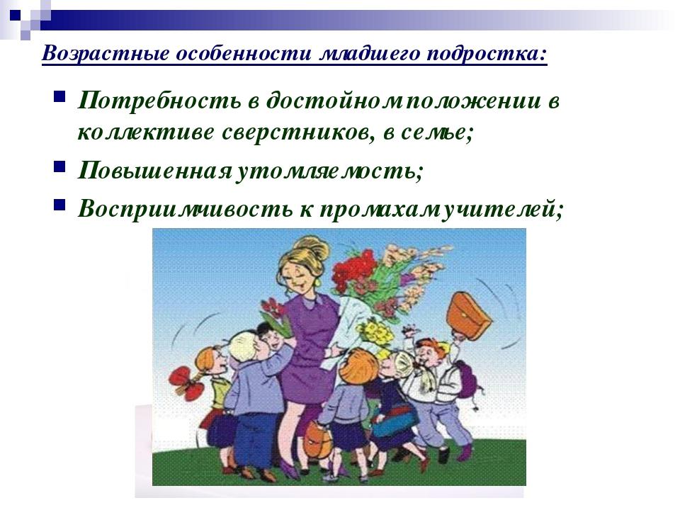 Возрастные особенности младшего подростка: Потребность в достойном положении...