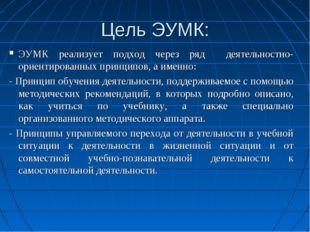 ЭУМК реализует подход через ряд деятельностно-ориентированных принципов, а им