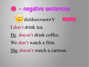 – negative sentences do/does+not+V . I don't drink tea. He doesn't drink cof
