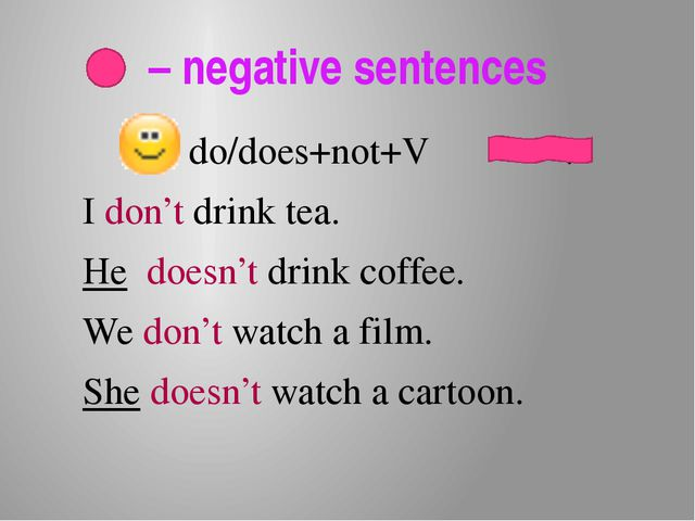 – negative sentences do/does+not+V . I don't drink tea. He doesn't drink cof...