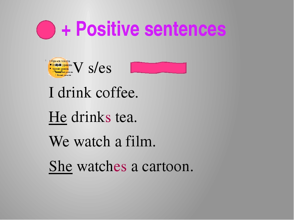 + Positive sentences V s/es . I drink coffee. He drinks tea. We watch a film...