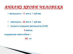 эритроциты – 5 млн в 1 куб.мм. лейкоциты – 20 млн в 1 куб.мм. скорость оседан
