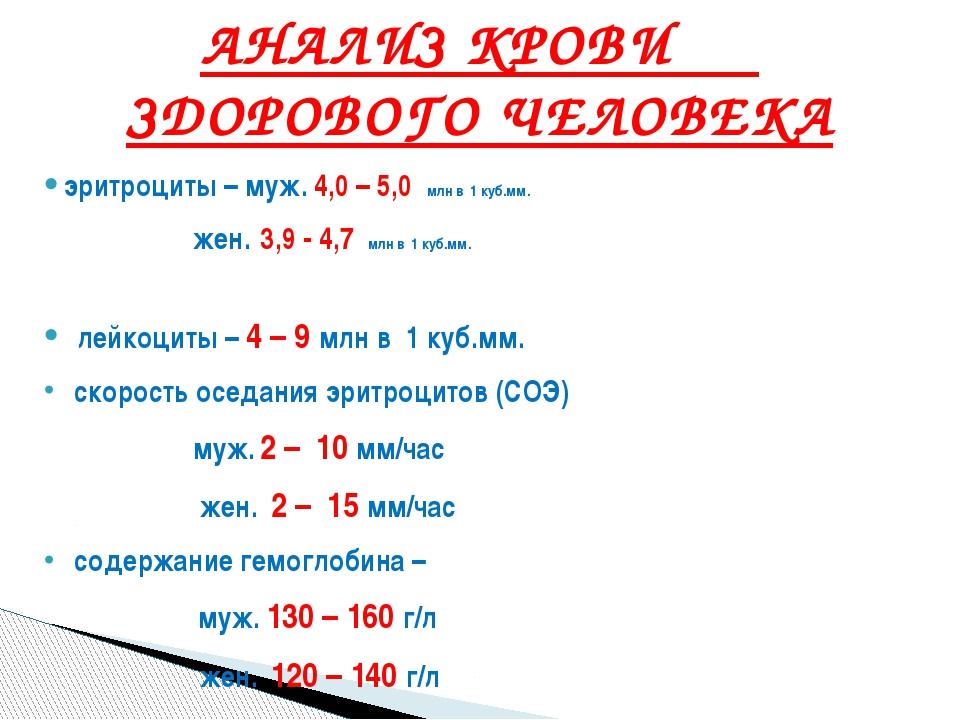 эритроциты – муж. 4,0 – 5,0 млн в 1 куб.мм. жен. 3,9 - 4,7 млн в 1 куб.мм. ле...