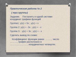 Практическая работа № 2 ( три группы) Задание. Построить в одной системе коо