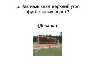5. Как называют верхний угол футбольных ворот? (Девятка).