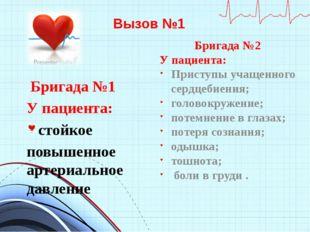 Вызов №1 Бригада №1 У пациента: стойкое повышенное артериальное давление Бриг