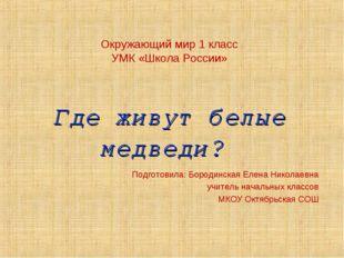 Окружающий мир 1 класс УМК «Школа России» Где живут белые медведи? Подготови