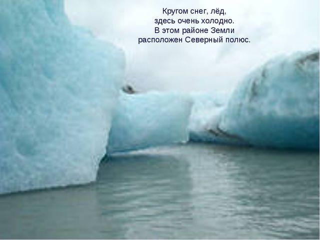 Кругом снег, лёд, здесь очень холодно. В этом районе Земли расположен Северны...