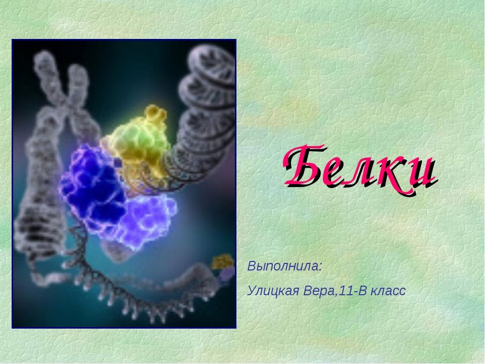 Белки Выполнила: Улицкая Вера,11-В класс