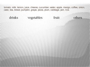 tomato, milk, lemon, juice, cheese, cucumber, water, apple, mango, coffee, on