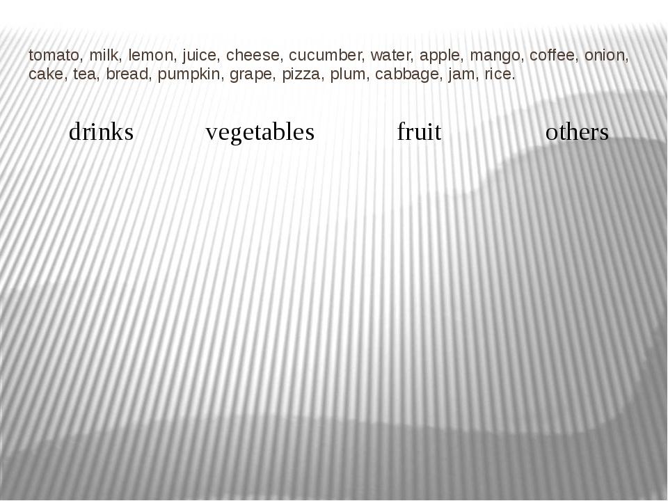 tomato, milk, lemon, juice, cheese, cucumber, water, apple, mango, coffee, on...