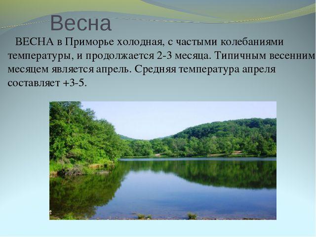 Весна ВЕСНА в Приморье холодная, с частыми колебаниями температуры, и продолж...