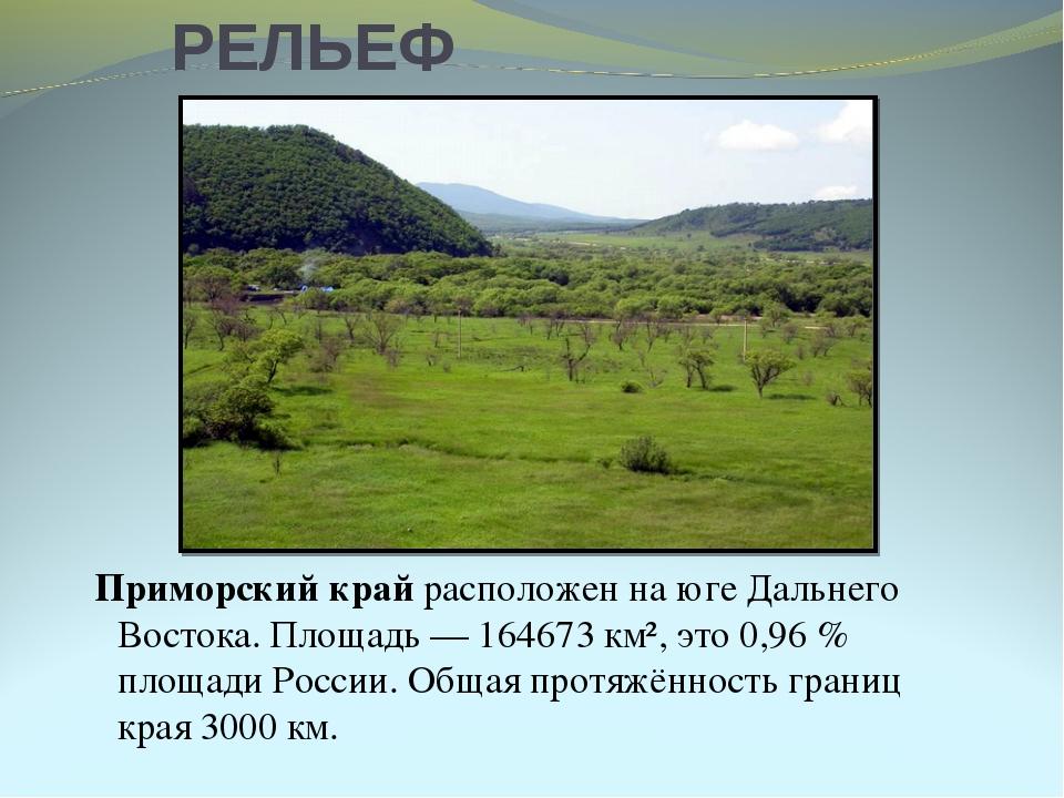 РЕЛЬЕФ Приморский край расположен на юге Дальнего Востока. Площадь— 164673...