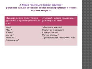 2. Приём «Толстых и тонких вопросов» развивает навыки активного восприятия ин