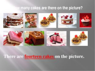 How many cakes are there on the picture? There are fourteen cakes on the pict