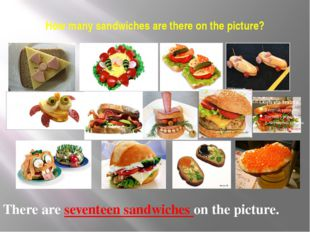 How many sandwiches are there on the picture? There are seventeen sandwiches