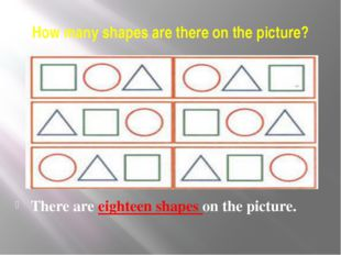 How many shapes are there on the picture? There are eighteen shapes on the pi