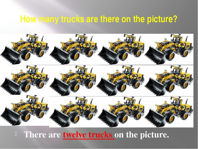 How many trucks are there on the picture? There are twelve trucks on the pict...