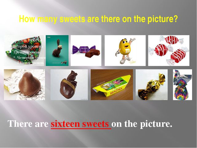 How many sweets are there on the picture? There are sixteen sweets on the pic...