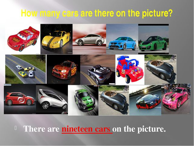 How many cars are there on the picture? There are nineteen cars on the picture.