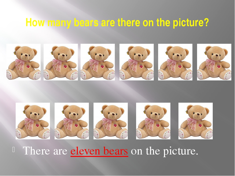 How many bears are there on the picture? There are eleven bears on the picture.