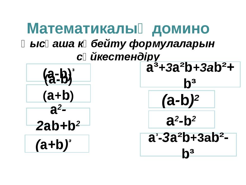 Математикалық домино Қысқаша көбейту формулаларын сәйкестендіру (а-b)³ a³-3a²...