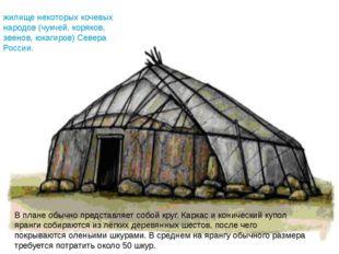 В плане обычно представляет собой круг. Каркас и конический купол яранги соби
